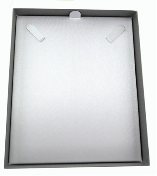 Classic Grey Textured Paper 2 Piece Necklace Box