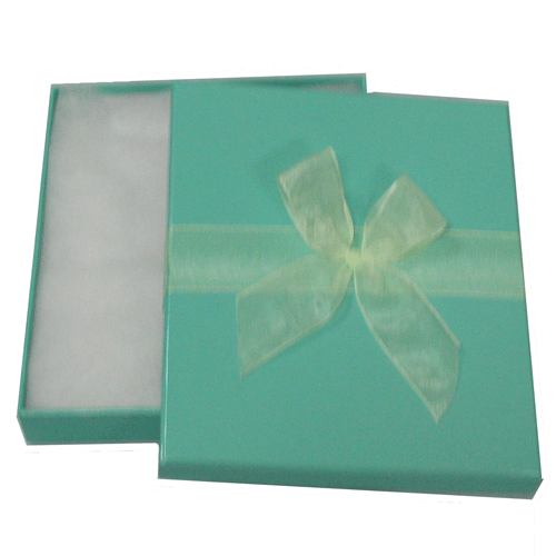 Shiny turquoise 2-piece paper box with ivory organza ribbon 4