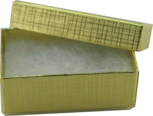 Brushed Gold Ring Earring Box with Cotton Fill