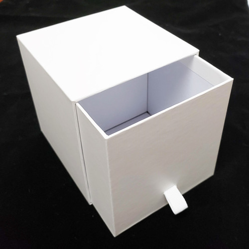Candle Slide Box with Ribbon Pull- White