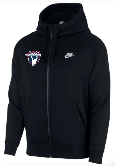 Nike Youth USAW Club Fleece Full Zip Hoodie - Black