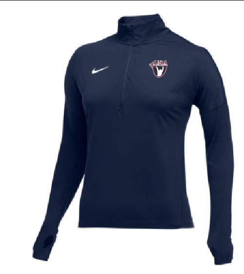 Nike Women's USAW Element 1/2 Zip Top - Navy/White