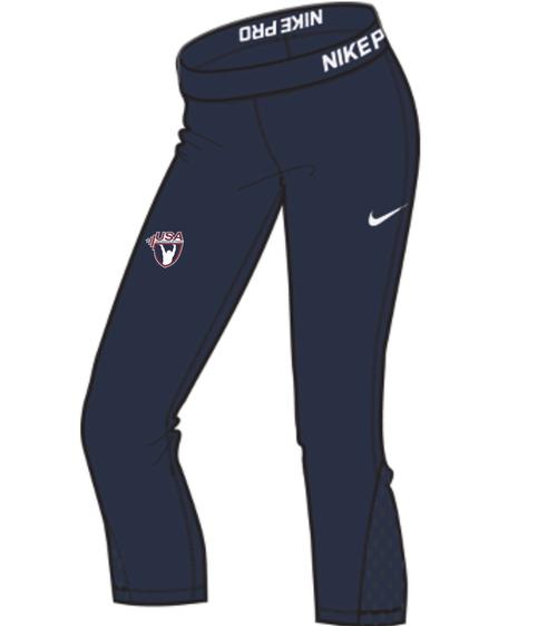 Nike Women's USAW ProCool Capri - Navy/White