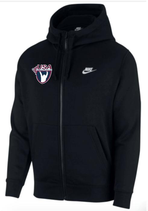 Nike Men's USAW Club Fleece Full Zip Hoodie - Black