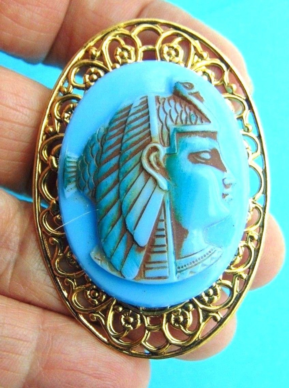 steampunk brooch badge pin gold ship blue green pirate nautical Black Sails