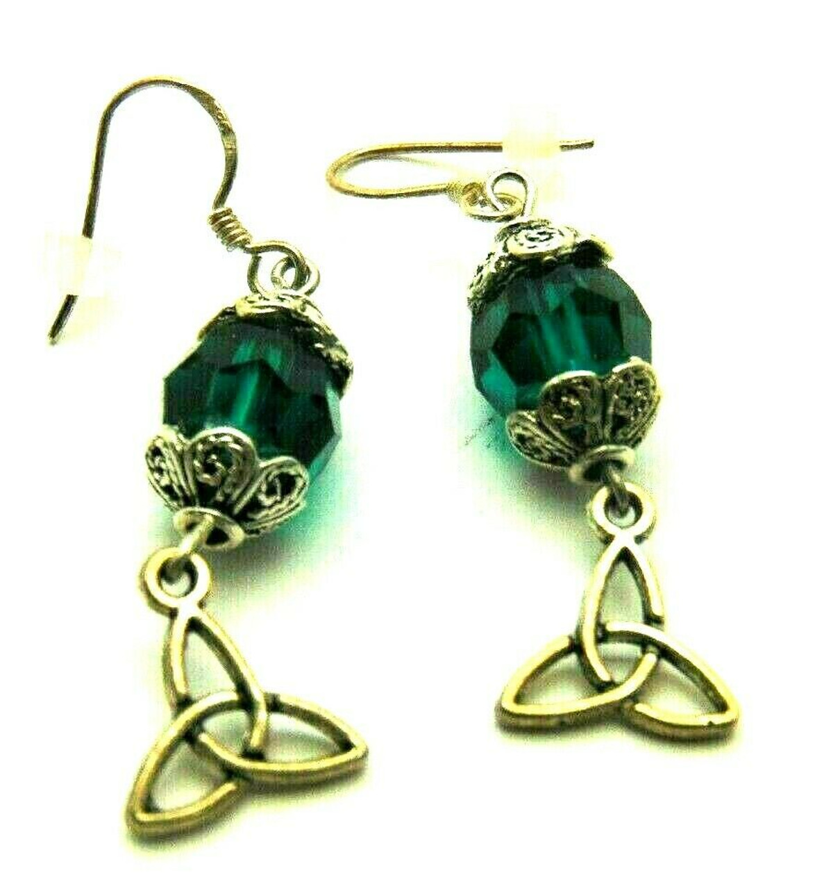 613b67b73 Trinity Knot Triquetra Celtic Irish Earrings Made w Swarovski Crystal Silver