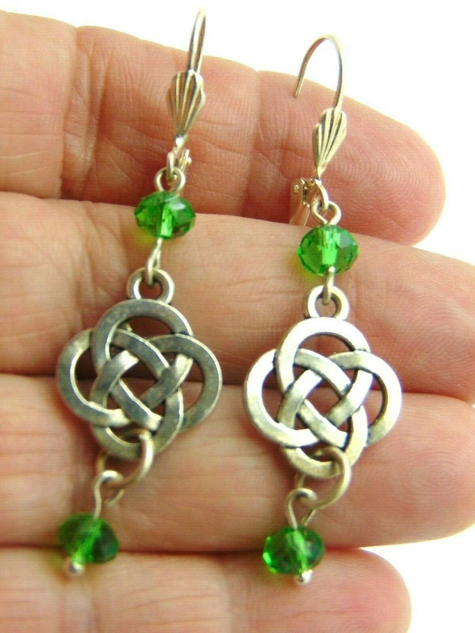 5a409c750 Silver Celtic Knot Earrings Irish Made w Swarovski Crystal Peridot  DazzleCity