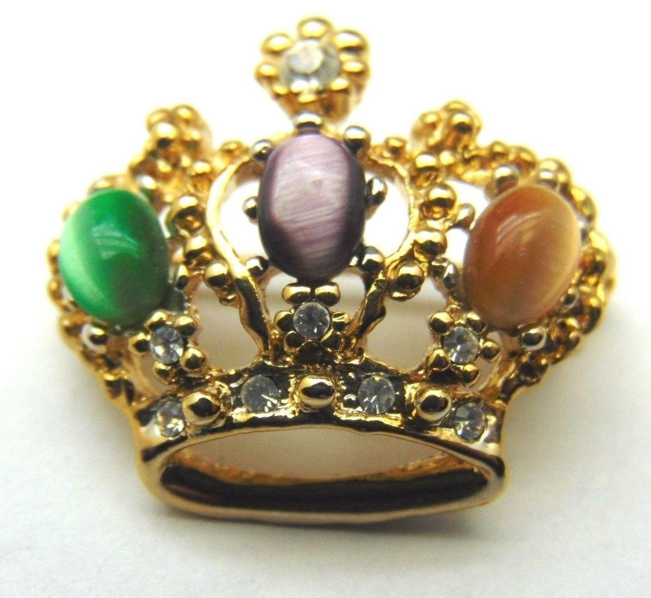 e0ea4bf8acd7 Regal CROWN Pin Queen Princess Tiger EYE RHINESTONE Crystal Brooch ...