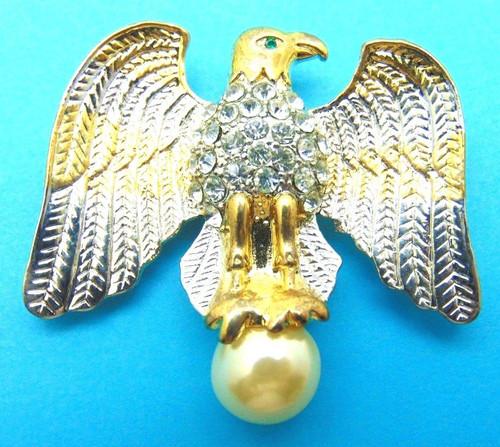 Lg American Bald Eagle Pin Pearl Rhinestone Crystal USA Brooch DazzleCity