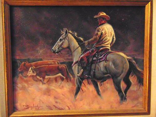 Larry Zabel Original Oil Painting Cowboy Cattle Signed 1998 Horse Dazzlecity