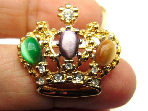 0f1416daa1e6 ... Regal CROWN Pin Queen Princess Tiger EYE RHINESTONE Crystal Brooch ...