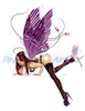 "Sexy Fairy Pinup Art ""Dark Fantasy"" (colored) by Nicole Brune"