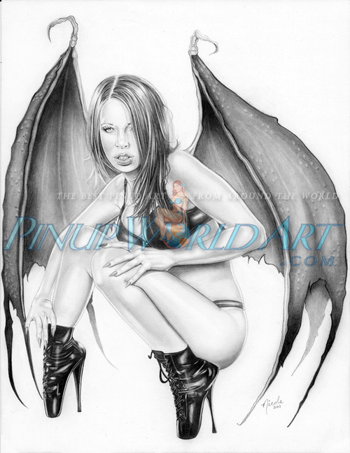 "Gargoyle Girl PinUp Art ""Guardian"" by Nicole Brune"