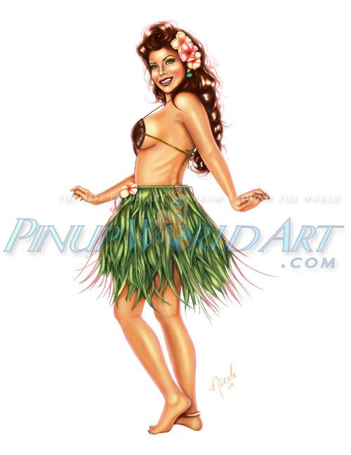 "Hula Girl Pinup Art ""Love Me Lei Me"" Color by Nicole Brune"