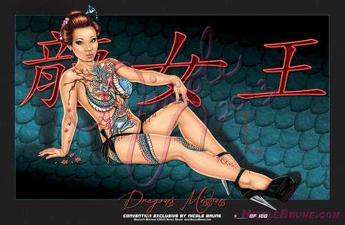 "Yaya Han is the model featured in this gorgeous limited edition piece titled ""Dragon's Mistress"". Complete with Authentic Chinese writing and set on a dragon scale background it premiered as a convention exclusive at San Diego Comic Con. There are only a few left so make sure you get yours before they are all gone."