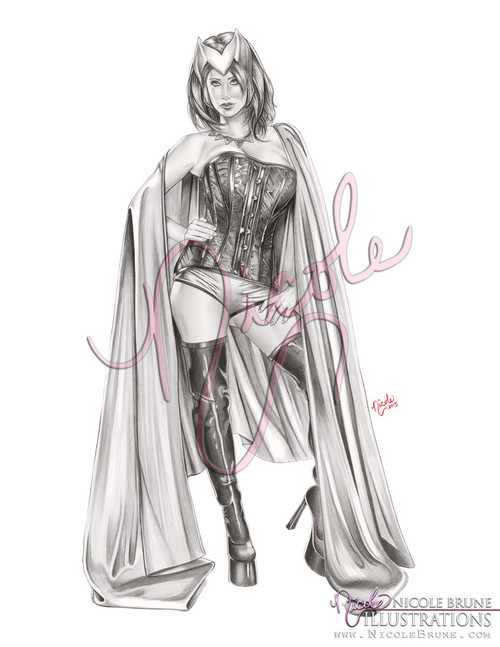 "Scarlet Witch 11x17"" original graphite drawing by Nicole Brune"