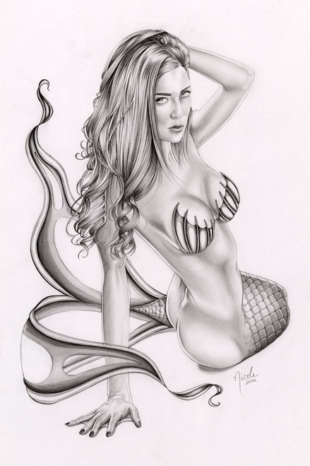 "Sea Vamp 11x17"" original graphite drawing by Nicole Brune"