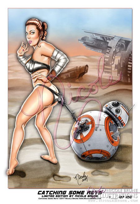 "Catching Some Reys 13x19"" Limited Edition pinup by Nicole Brune"