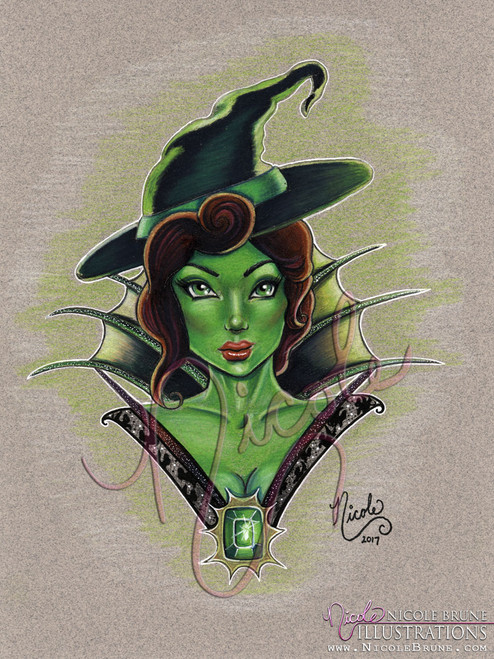 "Zelena portrait 9x12"" original drawing by Nicole Brune"
