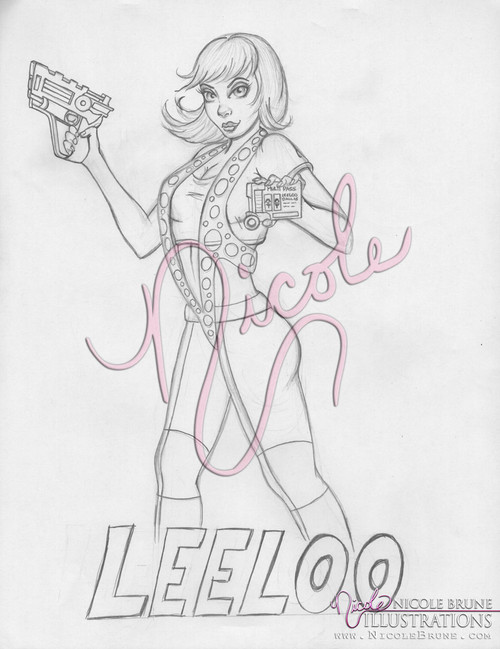"Mul-t-Pass 8.5x11"" original Leeloo drawing by Nicole Brune"