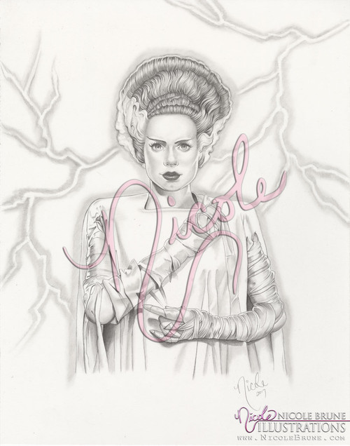 "Frankenstein's Bride 11x14"" original drawing by Nicole Brune"
