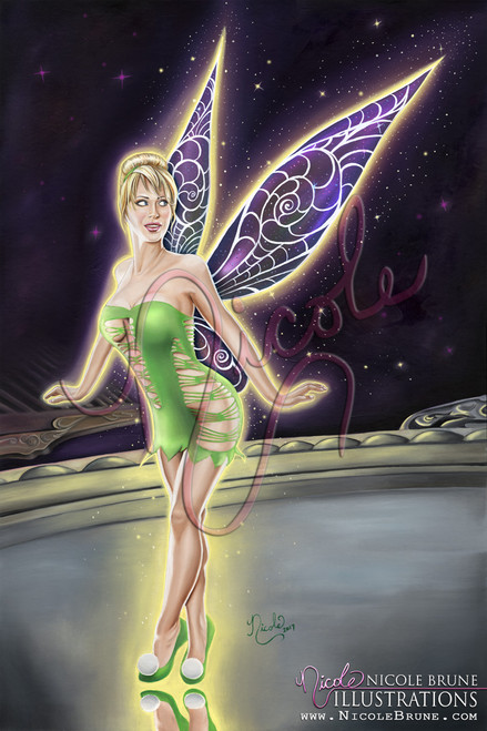 "Vanity 20x30"" original Tinkerbell fairy painting by Nicole Brune"