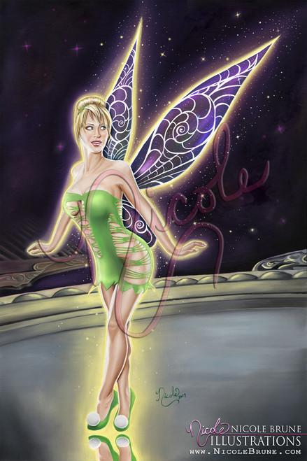 """Vanity 20x30"""" original Tinkerbell fairy painting by Nicole Brune"""