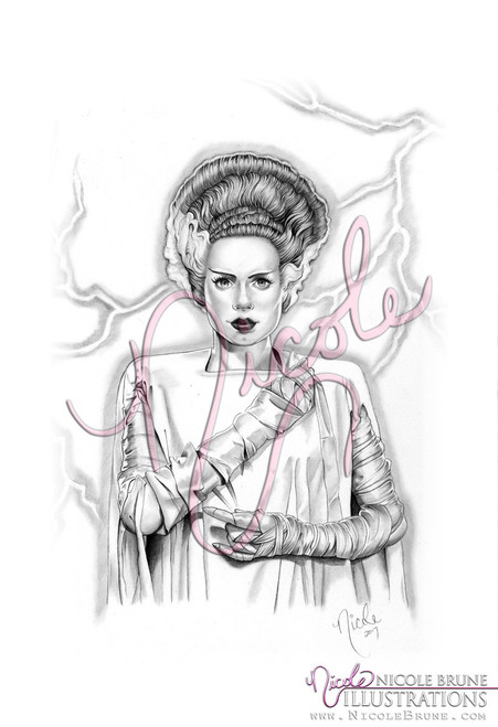 Bride of Frankenstein's Monster open edition print by Nicole Brune