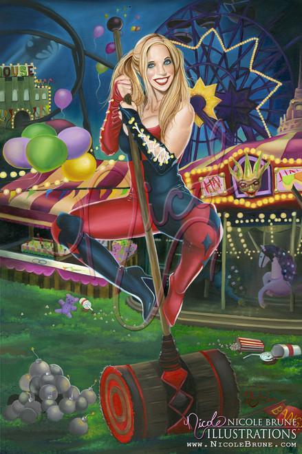 "Harleen's Midnight Rendezvous 20x30"" original Harley painting by Nicole Brune"