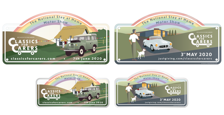 THE 2020 SET - Classics for Carers May & June Rally Plates & Stickers