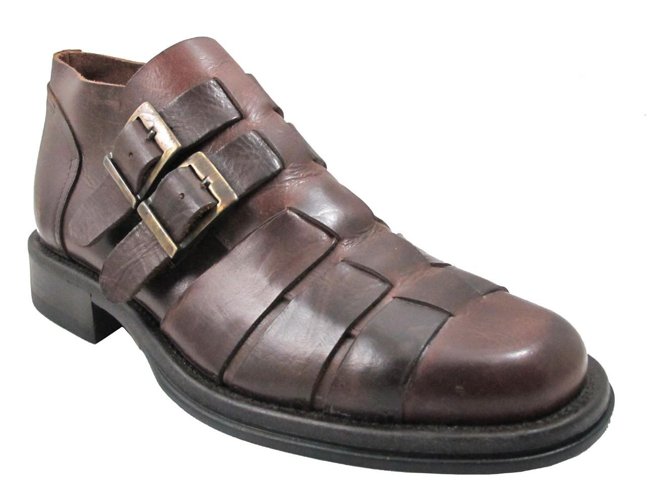 Davinci Men's 4723 Italian Double Buckle Straps Ankle Shoe in Brown