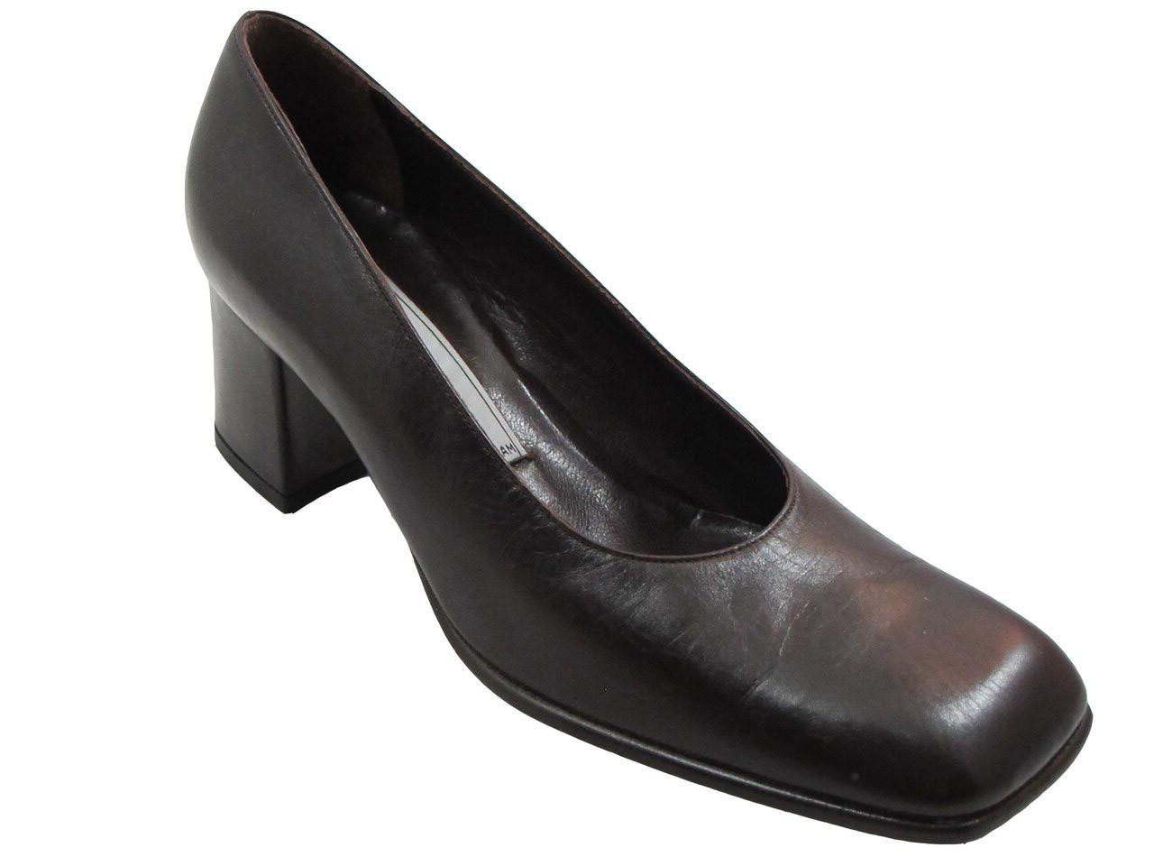 Alberto Zago 1554 Women's Square Toe Mid Heel Pumps in Black
