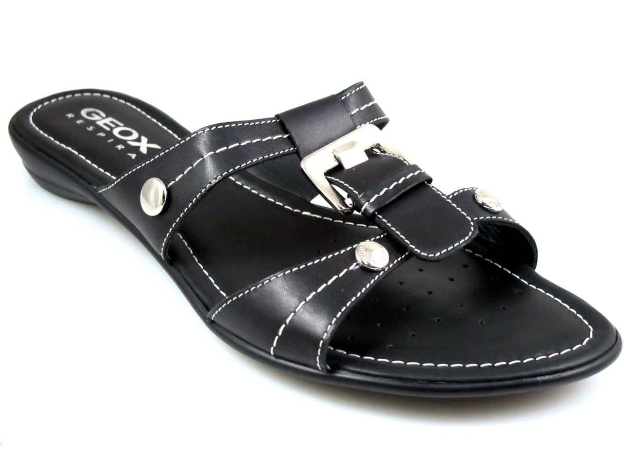 Geox Women Nada Slide Flat Sandal In White And Black - Davinci Shoes New  York