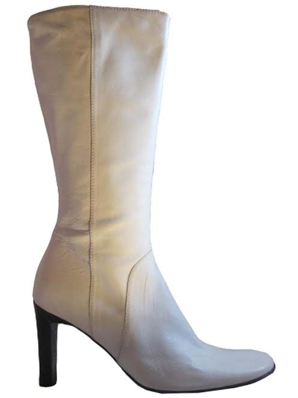 Mid Calf high Heel Boots 4163 White