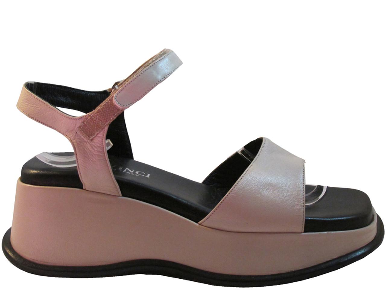 Marco Moreo Women's 2022 Italian Leather Wedge Sandals Beige