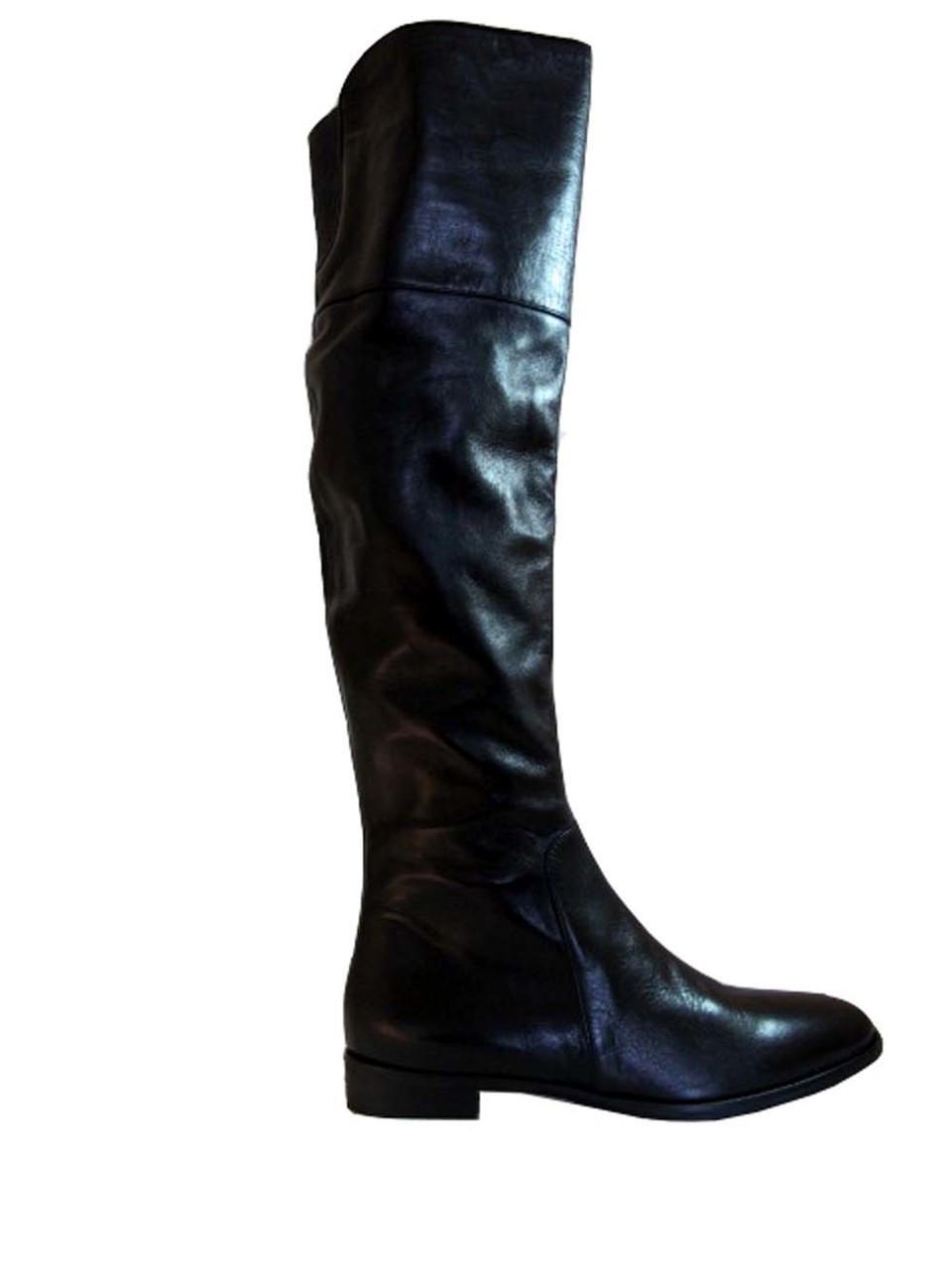 Julie Dee 6627 Women's Knee high Italian Leather Flat Boots Black