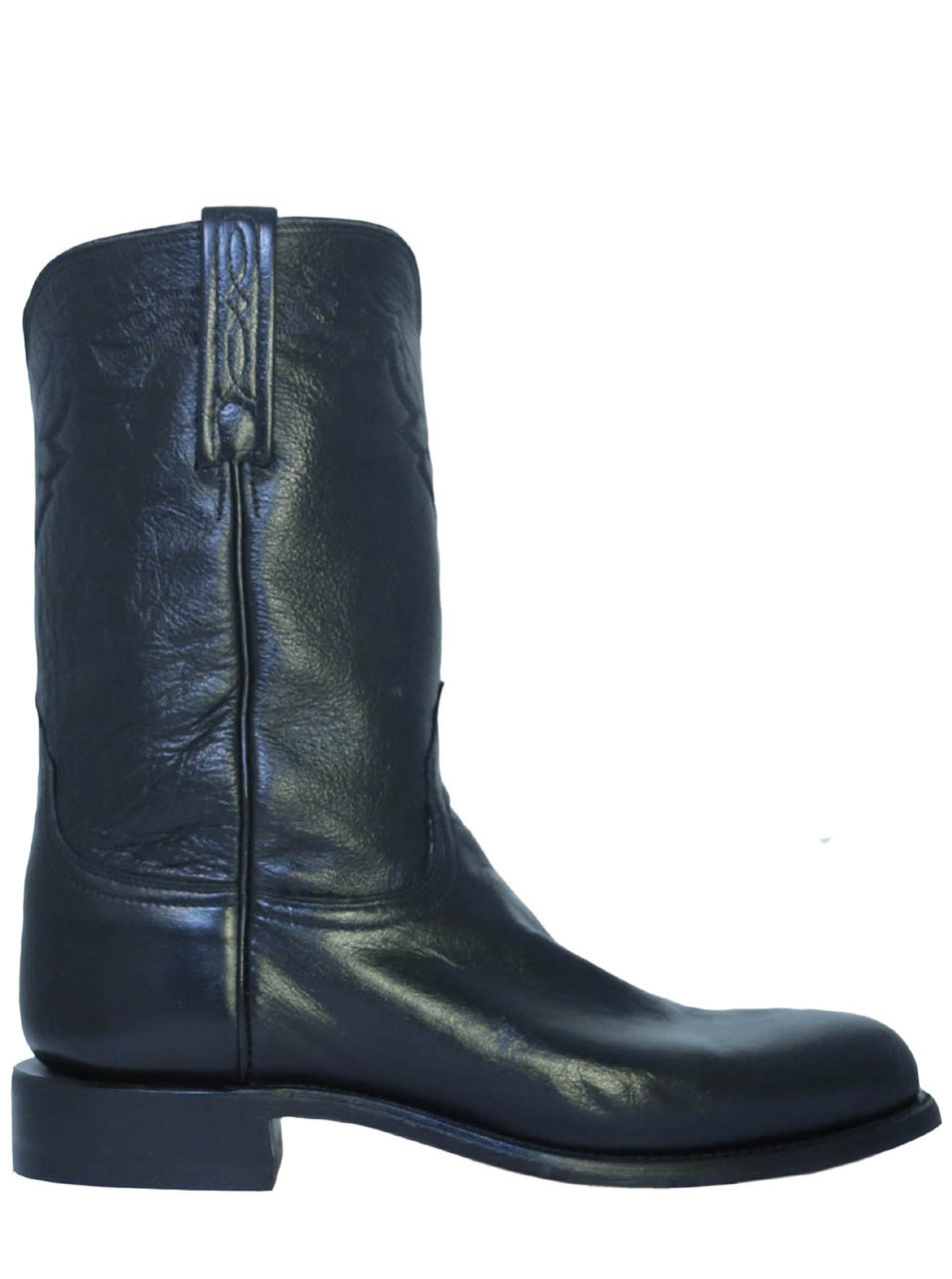 latest releases official price 2019 factory price Lucchese T0082 Men's Leather Roper Cowboy Boots Short Shaft Black
