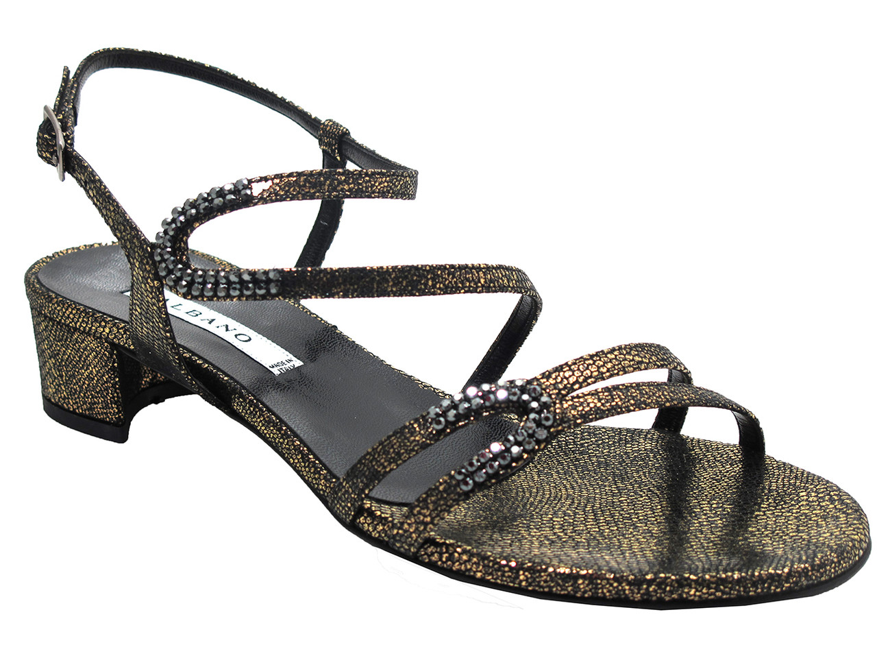 Albano 4774 Razza Nera Women's Low Heel Dressy Shimmer Sandal in BlackGold