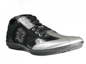 Men's Dressy Leather Silver/Black Italian Sneakers By Bagatto1311