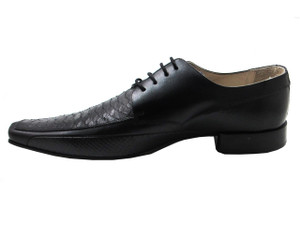 Davinci 2768 Men's Python Square toe Lace-Up Italian Dress Shoes, Black