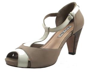 Julie Dee Women's 345 Dressy/Casual Italian Leather Low heel Peep Toe Shoes