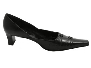 Davinci 1108 Women's Italian Point Square Toe Low Heel with Two Buckle in Black