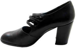 Enric Navaro 4241 Chunky Black Mid Heel Italian Pumps with strap and buckles