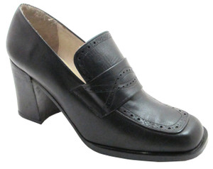 Spiral 5962 Women's square toe  mid heel italian pumps in black
