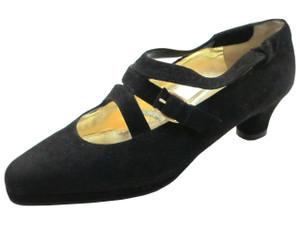 Linea Barbarella 4028 Women's Low Heel Pumps in black suede with 3 straps