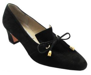 Claudia Ciuti Donata Women's Italian Low Slip-On Heels in Black suede