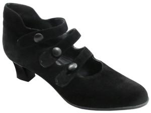 Caiman 4300 Women's Italian 3 strap Mid Heel Pumps in Black suede
