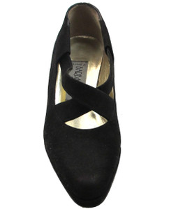 Linea Barbarella 4021 Women's Low Heel Pumps in black suede