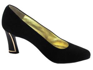 Linea Barbarella 1073 Women's Italian Mid Heel  Pump In Black And Brown