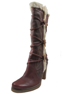 BCBG Women's Labany Fur Lined Criss Cross High Heel Winter Boots, Brown